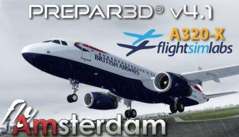 P3D V4.1 FSLabs A320 X FlyTampa Amsterdam Schiphol VATSIM Performance Test Part 1