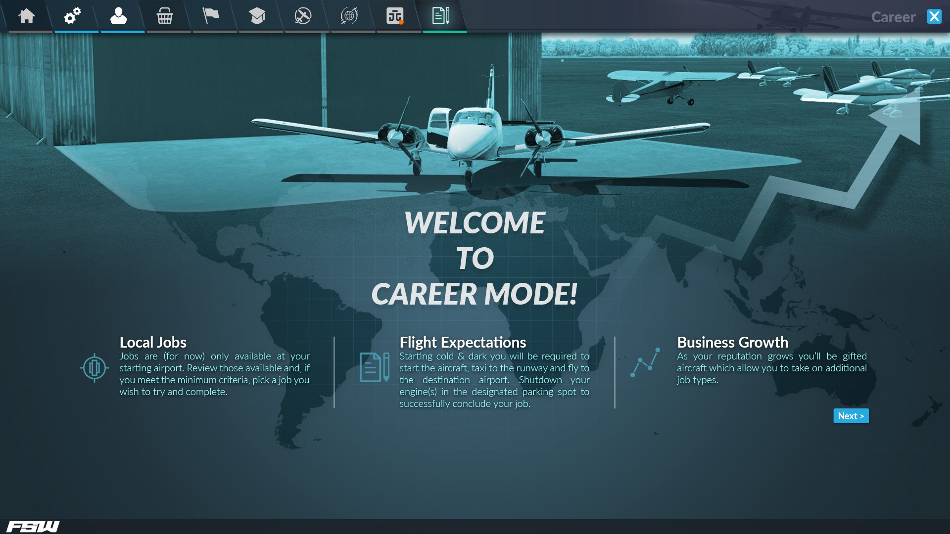 Career Mode welcome screen