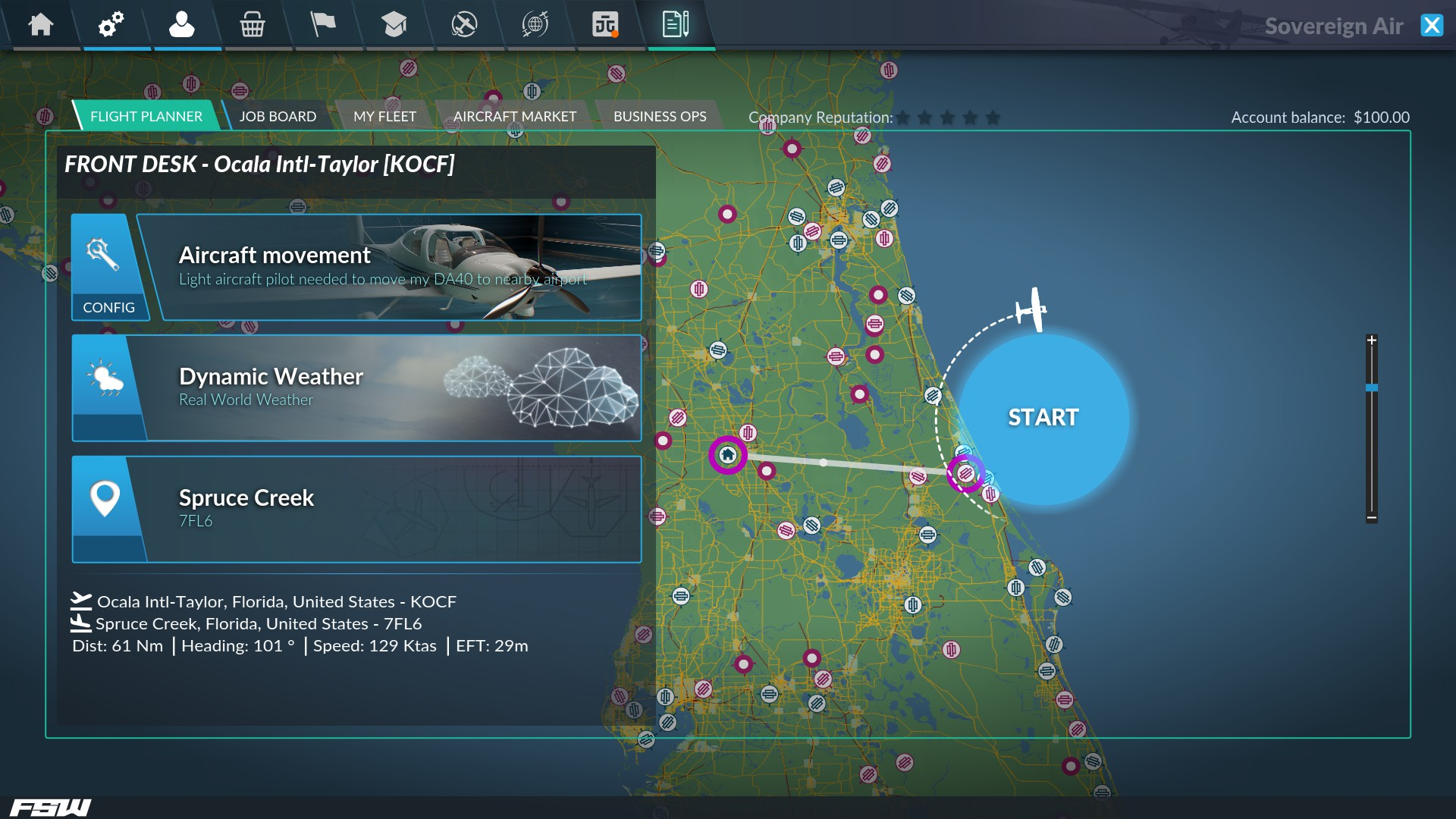 Career Mode flight planner