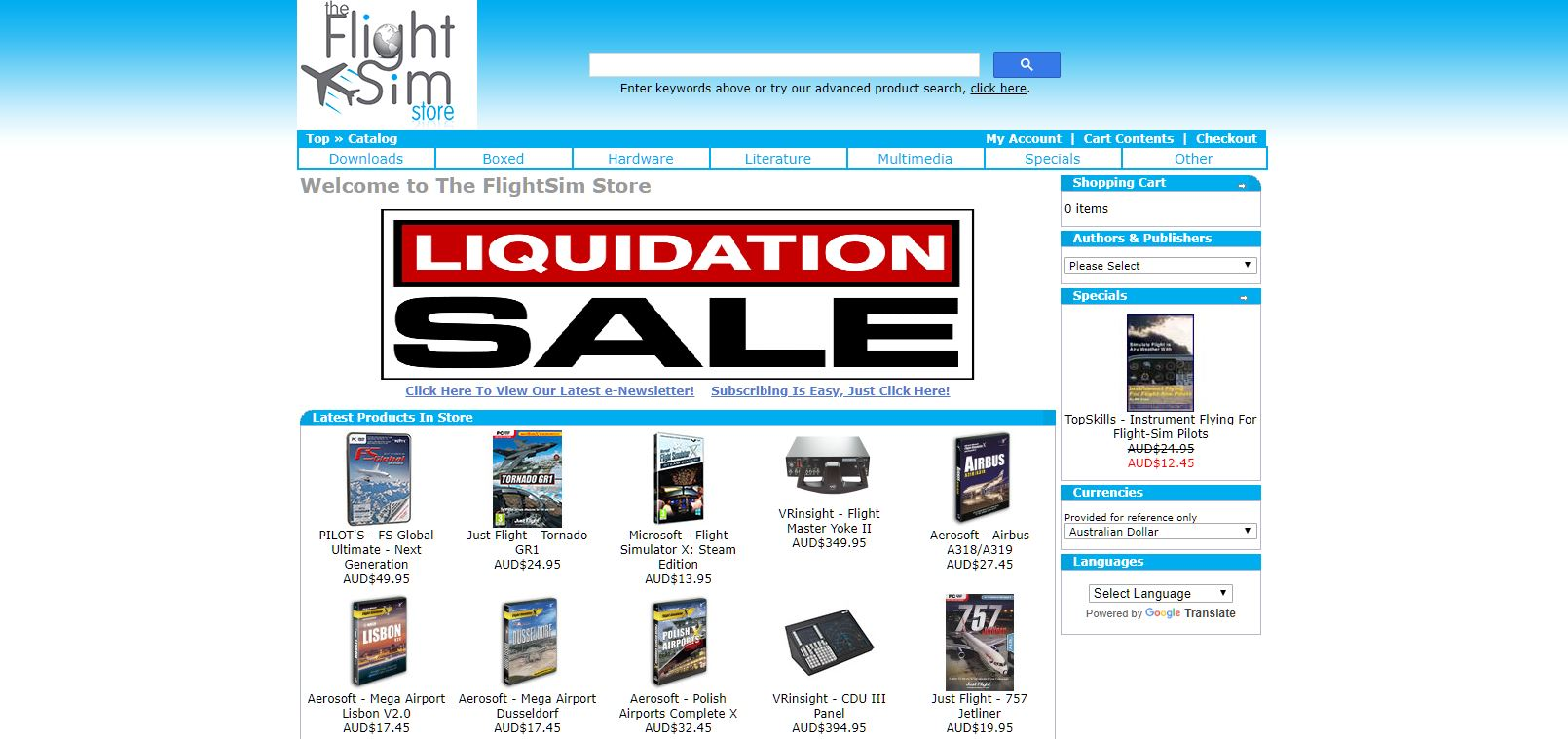 FlightSim Store Liquidation